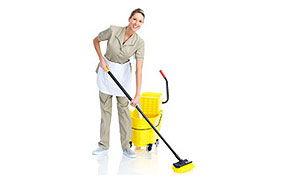 Femme de ménage et matériel d'entretien