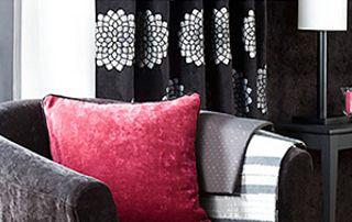 rideaux noirs à motifs