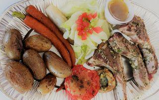 côtes d'agneau et légumes grillés