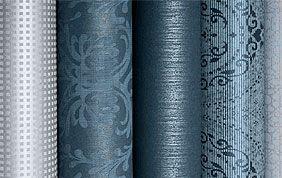 rouleaux de papiers peints tons bleus