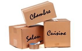 cartons d'emballage par pièce : chambre, salon, cuisine