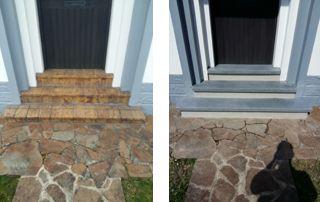 rénovation escalier en pierre bleue