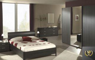 chambre moderne en bois foncé
