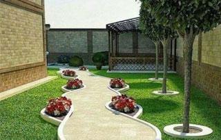 allée de jardin avec plantations