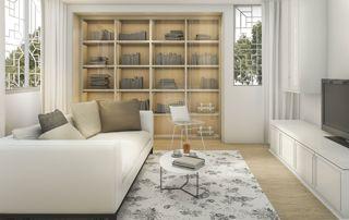 bibliothèque encastrée en bois clair
