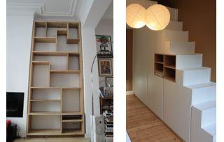 étagère sur mesure et placard sous escalier