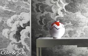 papier peint imprimé dans les tons gris clair (Cole & Son)