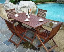 table et chaises de jardin en bois exotique