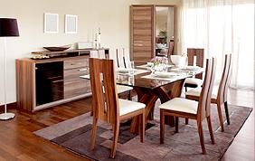 salle à manger bois et verre design