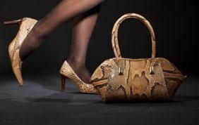 escarpins et sac en cuir style serpent