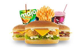 hamburger, soda et frites