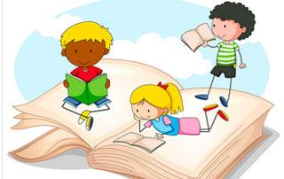 dessin d'enfants qui lisent