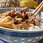 plat de nouilles chinoises au poulet