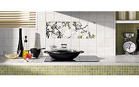 crédence de cuisine en mosaïque de couleur vert anis