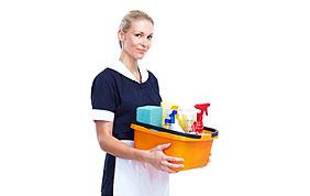 aide ménagère avec produits de nettoyage