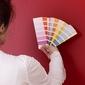 nuancier de couleurs sur mur rouge