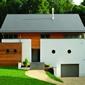 maison contemporaine bois et murs blancs