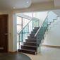 Escalier hall entrée verre bois