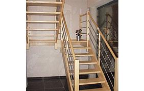 double escalier en bois