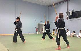 entrainement art martial avec bâton