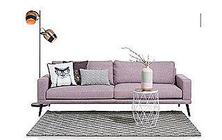 canapé 2 places en tissu avec coussins à motifs