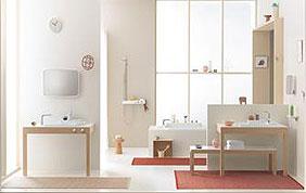 salle de bain beige blanche et brique
