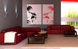 salon moderne avec canapé rouge