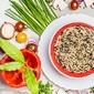 assiette de riz et poivron