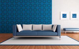 Canapé sur pied bleu
