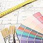 plan d'architecte avec nuancier de couleurs