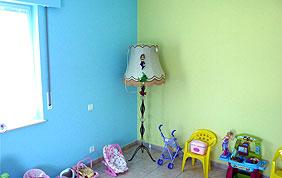 chambre enfant peinture bleu et vert