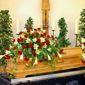 chambre funéraire avec cercueil fleuri