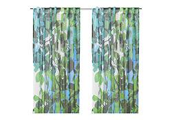 Rideau à motifs verts et bleus