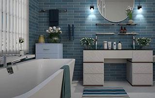 salle de bain tons bleus