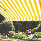 banne solaire rayée jaune et blanc