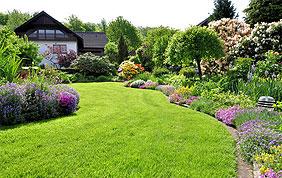 Jardin aménagé avec massifs floraux et pelouse