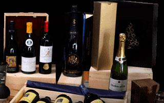 bouteilles de vin et de champagne