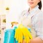 femme de ménage avec produits d'entretien